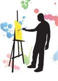 L'homme est vecteur de silhouette de peinture Images stock