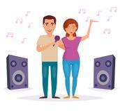 L'homme et la femme chantent le karaoke Images stock