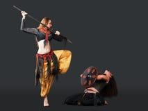 L'homme et la femme combattent avec la lance et l'écran protecteur - Arabie Images stock