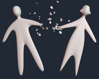 L'homme et la femme de couples de divorce tombent en morceaux avec le commection cassé de main illustration de vecteur