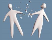 L'homme et la femme de couples de divorce tombent en morceaux avec le commection cassé de main illustration stock