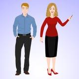L'homme et la femme de sourire dans le style de bureau portent Photographie stock