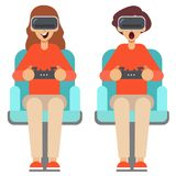 L'homme et la femme emploient des verres de réalité virtuelle avec des contrôleurs Illustration de vecteur illustration libre de droits