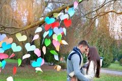 L'homme et la femme en parc la Saint-Valentin, l'arbre est des décorums Photos libres de droits