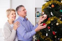 L'homme et la femme mûrs sont accrochent des jouets du ` s de nouvelle année sur un sapin Photographie stock libre de droits