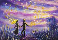 L'homme et la femme originaux d'abrégé sur peinture dansent sur le coucher du soleil Nuit, nature, paysage, ciel étoilé pourpre,  Photos stock
