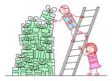 L'homme et la femme sont construisent une pile des cadeaux - illustr de concept Images stock
