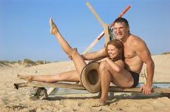 L'homme et la fille heureux Image stock