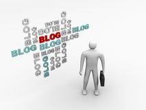 L'homme et le blog 3d debout abrègent le fond Photo libre de droits