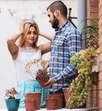 L'homme faisant des excuses pour les amies de arrosage fleurit Photos stock