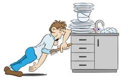 L'homme fait la vaisselle de désespoir illustration de vecteur