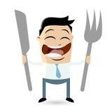 L'homme heureux attend la nourriture illustration de vecteur