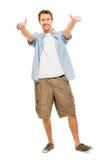 L'homme heureux manie maladroitement vers le haut du fond blanc Photos libres de droits