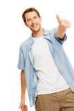 L'homme heureux manie maladroitement vers le haut du fond blanc Photo libre de droits