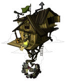 L'homme heureux s'assied dans sa maison reculée Haute au-dessus de la ville coloré Image stock