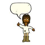 l'homme hippie de bande dessinée donnant des pouces lèvent le symbole avec la bulle de la parole Images libres de droits