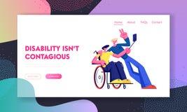 L'homme invalide handicapé gai dans le fauteuil roulant prennent la photo au téléphone avec l'ami en bonne santé Incapacité, amit illustration libre de droits