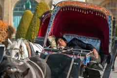 L'homme iranien dort dans le fiacre démodé traditionnel, chariot motivé par le cheval dans Esfahan, Iran Photos stock