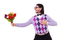 L'homme jugeant des tulipes d'isolement sur le blanc Photographie stock