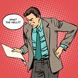 L'homme jure lit la lettre de document sur papier illustration stock