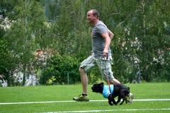 L'homme a l'amusement avec le chien Photos libres de droits