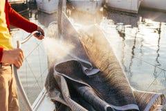 L'homme lave la voile pliée sur le bateau ou le yacht dans le port Image stock