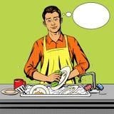 L'homme lave le vecteur de style d'art de bruit de plats illustration libre de droits