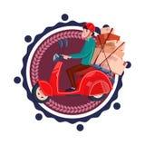 L'homme livrent des boîtes montant rétro le logo de calibre d'isolement de service de distribution de scooter par icône illustration de vecteur