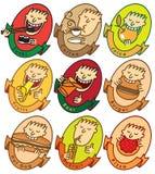 L'homme mangent différents paraboloïdes Photo stock