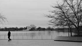 L'homme marche après l'eau de Jefferson Memorial images stock