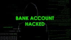 L'homme mauvais de génie a entaillé le compte bancaire, transfert de fonds illégal, blanchiment d'argent images stock