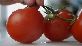 L'homme a mis sur la table de cuisine quelques tomates rouges fraîches et savoureuses photo stock