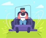 L'homme monte un vecteur de tondeuse à gazon cartoon D'isolement illustration stock