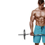 L'homme musculaire établissant faire s'exerce avec le barbell au biceps, ABS nu masculin fort de torse, d'isolement au-dessus du  image stock