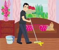 L'homme nettoie après chien Photo libre de droits