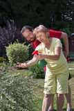 L'homme observe la femme au jardinage Photo stock