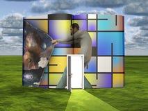 L'homme ouvre le rideau à une autre dimension illustration libre de droits