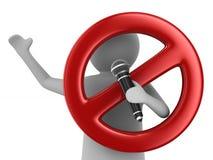 L'homme parle avec le microphone et le signe interdits sur le backgroun blanc Photographie stock libre de droits