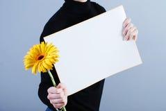 L'homme prend la plaquette et la fleur Images libres de droits