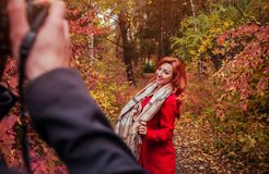 L'homme prend une photo de son amie dans la forêt d'automne Photographie stock