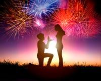 ... stock: L homme propose une femme pour marier la proposition de mariage