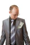 L'homme regarde l'argent dans votre poche image libre de droits