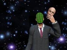 L'homme retire le visage pour indiquer la binaire Images stock