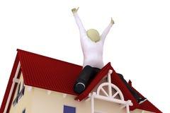 L'homme s'asseyent sur le toit Photos libres de droits