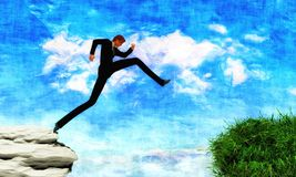 L'homme sautant à travers l'espace du côté rocheux au côté herbeux illustration de vecteur