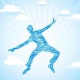 L'homme sautant dans un pré Image stock