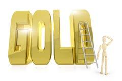 L'homme se tient devant le mot d'or énorme OR illustration de vecteur