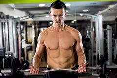 L'homme sexy fort établissent le biceps photo libre de droits