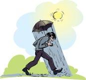 L'homme sous un parapluie Photos stock