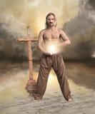 L'homme spirituel porte la lumière photographie stock